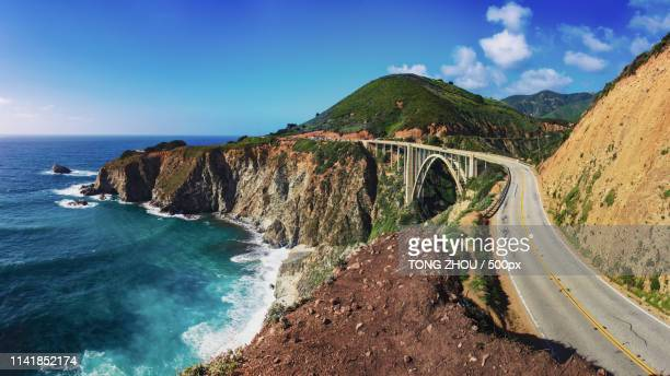 start of the magnificent big sur--bixby bridge route 1, california - big sur stock photos and pictures