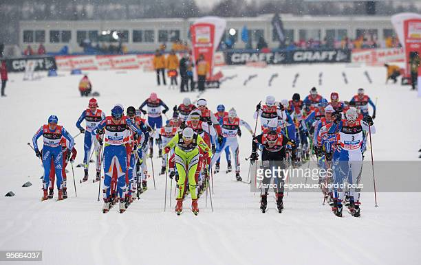 Start of the mass women for the FIS Cross Country World Cup Tour de Ski on January 09 2010 in Val di Fiemme Italy