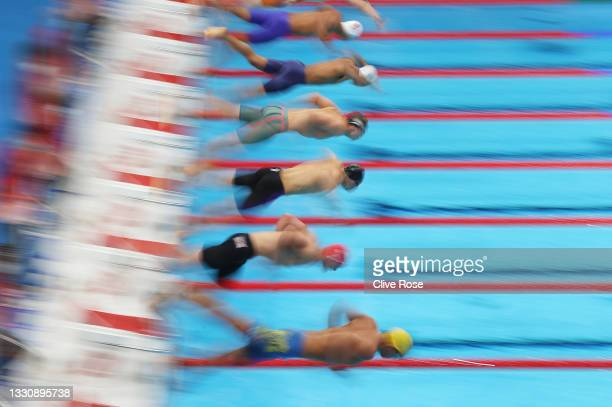 Start of the Men's 100m Freestyle heat six on day four of the Tokyo 2020 Olympic Games at Tokyo Aquatics Centre on July 27, 2021 in Tokyo, Japan.