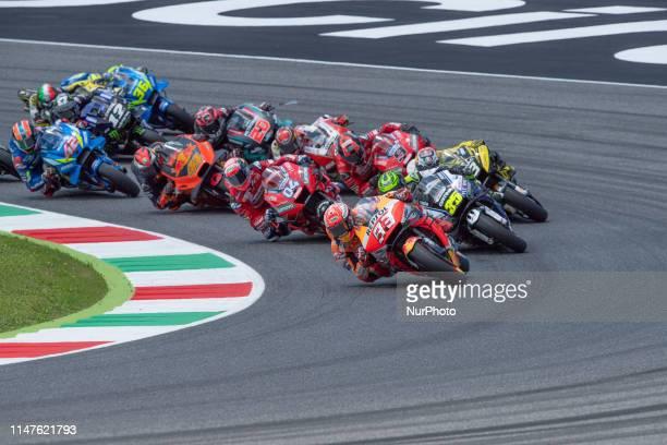 Start of the MotoGP race Marc Marquez Repsol Honda Team and 04 Andrea Dovizioso Mission Winnow Ducati in race Day 4 at the Mugello International...