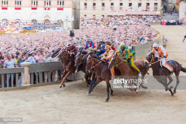 """start of the race the """"palio di siena"""" at the piazza di campo at siena city, italy. - siena province stock pictures, royalty-free photos & images"""