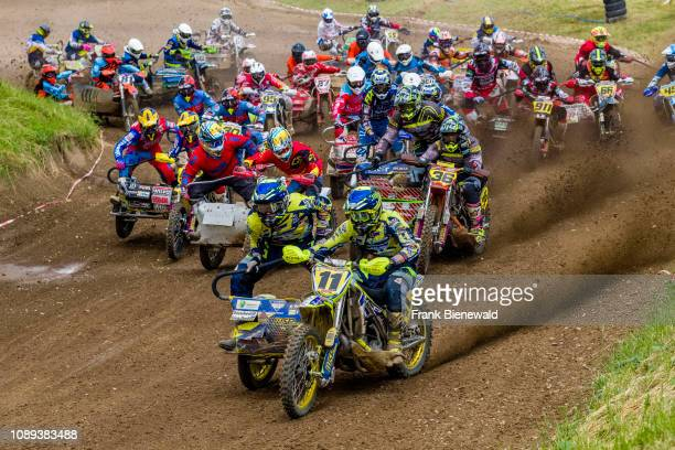 Start of the sidecar motocross bikes at Deutsche Meisterschaft at the motocross circuit Am Österreicher.
