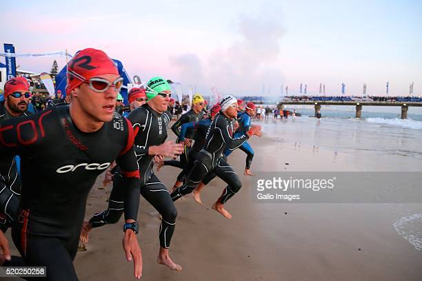 Start of the Standard Bank Ironman South Africa during the Standard Bank Ironman South Africa at Nelson Mandela Bay Stadium on April 10 2016 in Port...