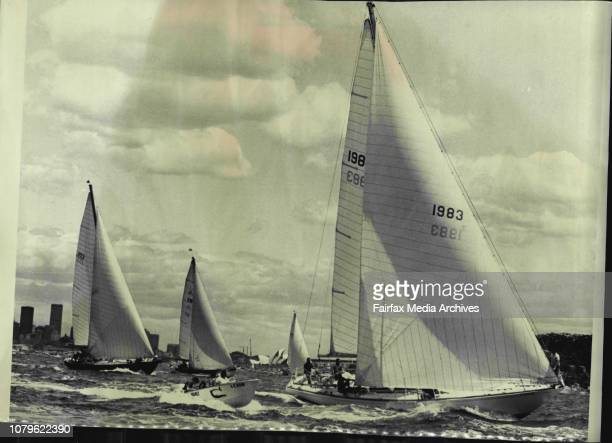 Start of the SydneyHobart yacht race todayAmerican sloop Rage leads the cutter Alcheringa off Bradley's Head at the start of the race December 26 1968