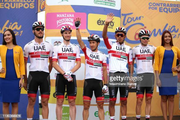 Start / Oiverio Troia of Italy and Uae Team Emirates / Tom Bohli of Switzerland and Uae Team Emirates / Sergio Luis Henao of Colombia and Uae Team...