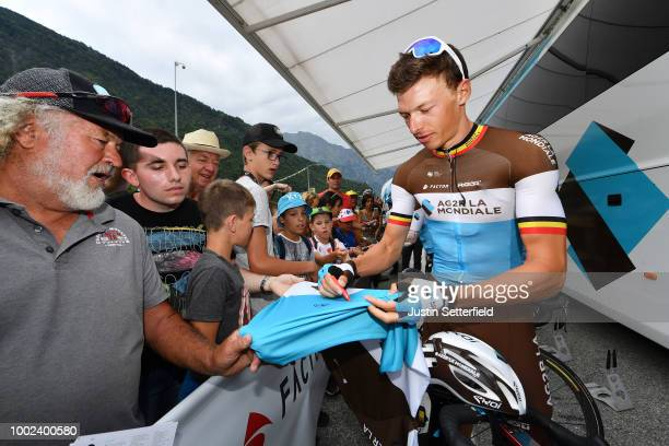 Start / Oliver Naesen of Belgium and Team AG2R La Mondiale / Fans / during the 105th Tour de France 2018 Stage 13 a 1695km stage from Bourg d'Oisans...
