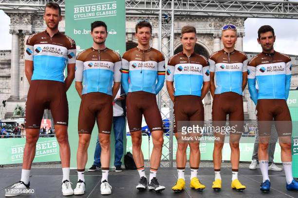 Start / Oliver Naesen of Belgium and Team AG2R La Mondiale / Nico Denz of Germany and Team AG2R La Mondiale / Jaakko Hanninen of Finland and Team...