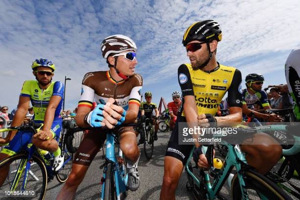 Start / Oliver Naesen of Belgium and Team AG2R La Mondiale / Paul Martens of Germany and Team Lotto Nl - Jumbo / during the 14th BinckBank Tour 2018,...