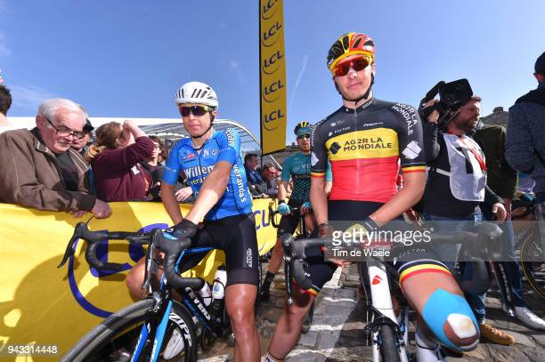 Start / Oliver Naesen of Belgium and Team AG2R La Mondiale / Stijn Devolder of Belgium And Team Veranda's Willems - Crelan / during the 116th Paris -...