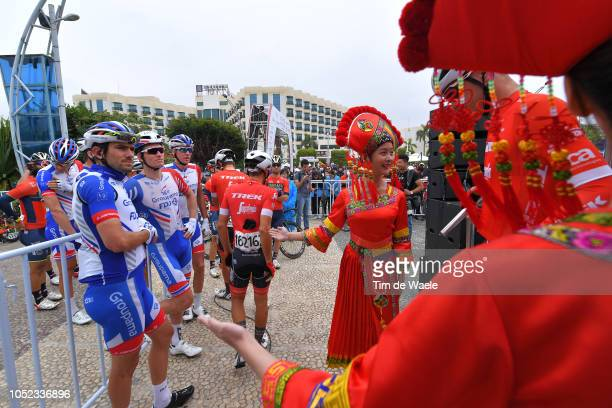 Start / Olivier Le Gac of France and Team Groupama-FDJ / Arnaud Demare of France and Team Groupama-FDJ / Traditional Chinese Custom / during the 2nd...
