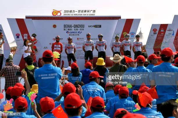 Start / Oliviero Troia of Italy and UAE - Team Emirates / Roberto Ferrari of Italy and UAE - Team Emirates / Fernando Gaviria of Colombia and UAE -...