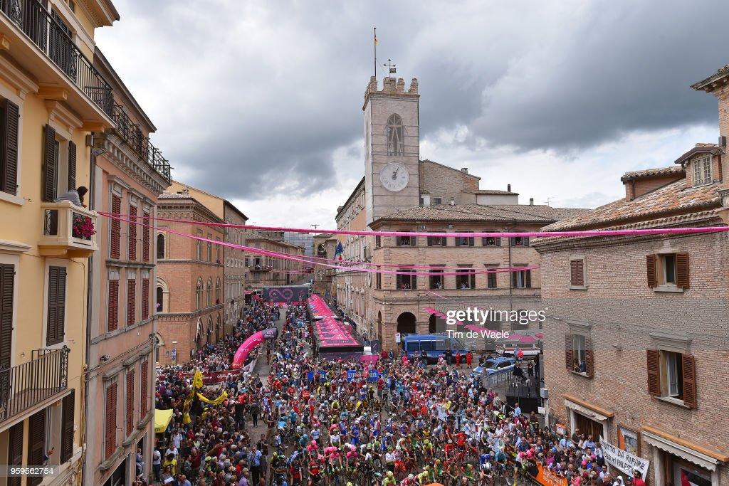 Start / Osimo City / Fans / Public / Landscape / Church / Peloton / during the 101st Tour of Italy 2018, Stage 12 a 214km stage from Osimo to Imola-Autodromo Enzo e Dino Ferrari / Giro d'Italia / on May 17, 2018 in Imola, Italy.