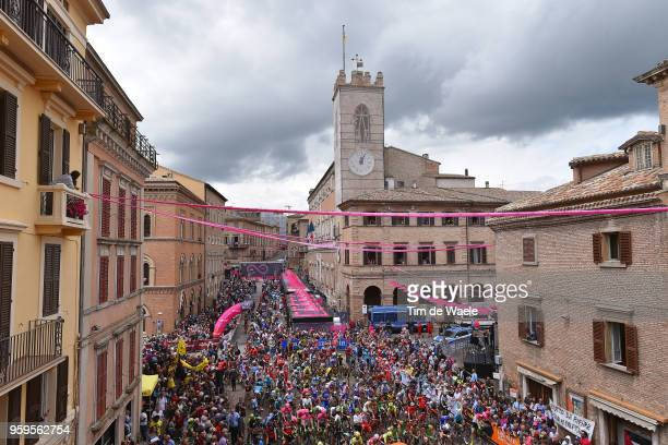 Start / Osimo City / Fans / Public / Landscape / Church / Peloton / during the 101st Tour of Italy 2018 Stage 12 a 214km stage from Osimo to...