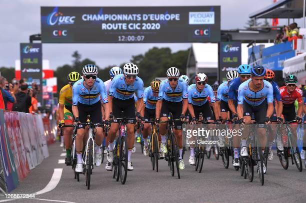 Start / Otto Vergaerde of Belgium / Sep Vanmarcke of Belgium / Xandro Meurisse of Belgium / Victor Campenaerts of Belgium / Jasper Philipsen of...
