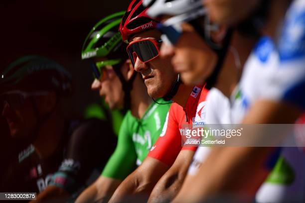 Start / Pascal Ackermann of Germany and Team BORA - Hansgrohe / Primoz Roglic of Slovenia and Team Jumbo - Visma Green Points Jersey / Richard...
