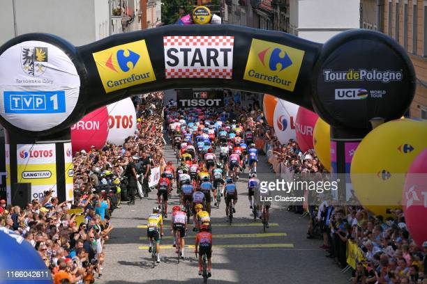 Start / Pascal Ackermann of Germany and Team BoraHansgrohe Yellow Leader Jersey / Michael Gogl of Austria and Team TrekSegafredo / Antwan Tolhoek of...
