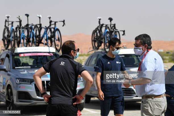 Start / Patxi Vila of Spain Sports director of Movistar Team & UCI commissioner during the 3rd UAE Tour 2021, Stage 3 a 166km stage from Al Ain -...