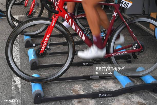 Start / Pavel Kochetkov of Rusia and Team Katusha-Alpecin / Warm-up / Tacx Rollers / Detail view / Andorra la Vella City / during the 74th Tour of...