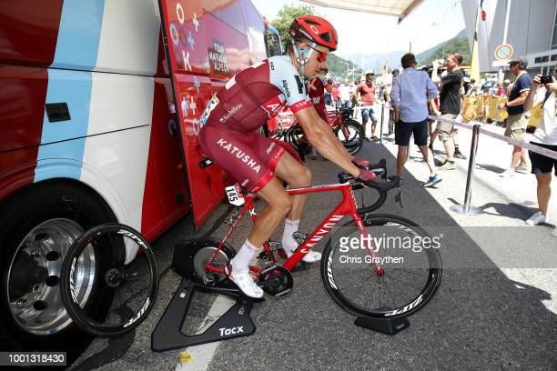 Start / Pavel Kochetkov of Russia and Team Katusha / Warm up / during the 105th Tour de France 2018 Stage 11 a 1085km stage from Albertville to La...