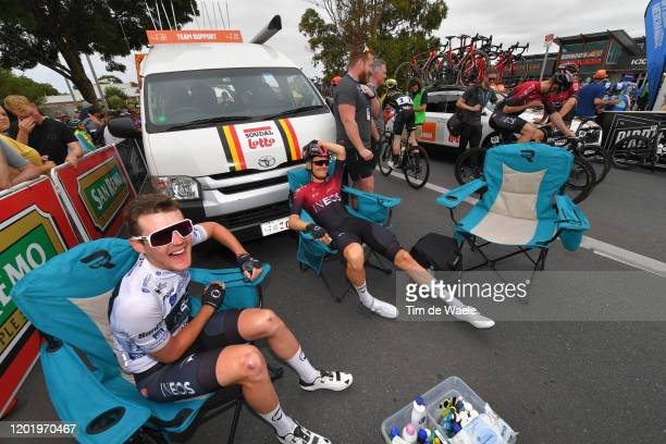 Start / Pavel Sivakov of Russia and Team INEOS White Best Young Jersey / Dylan Van Baarle of Netherlands and Team INEOS / McLaren Vale / during the...