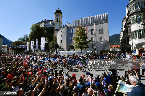 Start / Peloton / Fans / Public / during the Men Under 23 Road Race a 1799km race from Kufstein to Innsbruck 582m at the 91st UCI Road World...