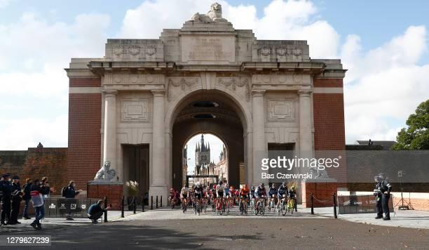 Start / Peloton / Menin Gate / Flanders Fields Museum / Ypres City / during the 9th Gent-Wevelgem In Flanders Fields 2020, Women Elite a 141,4km race...