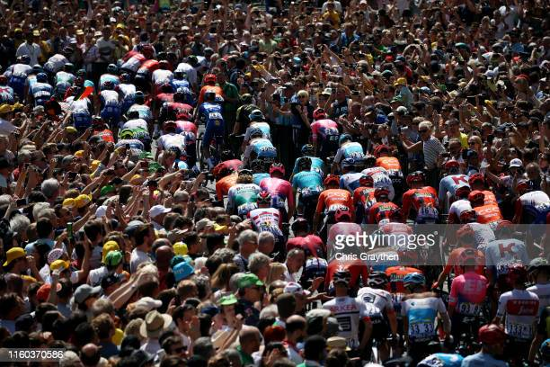 Start / Peloton / Public / Fans / Place Royal / Brussels City / Detail view / during the 106th Tour de France 2019 Stage 1 a 1945km stage from...