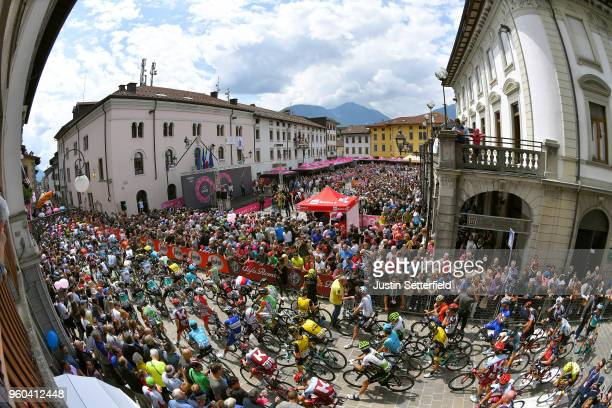 Start / Peloton / Tolmezzo City / Fans / Public / during the 101st Tour of Italy 2018 Stage 15 a 176km stage from Tolmezzo to Sappada 1240m / Giro...
