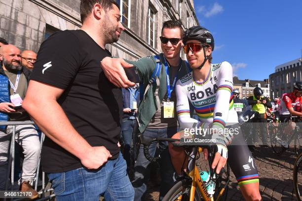 Start / Peter Sagan of Slovakia and Team BoraHansgrohe / Fans / Selfie / during the 53rd Amstel Gold Race 2018 a 263km race from Maastricht to Berg...