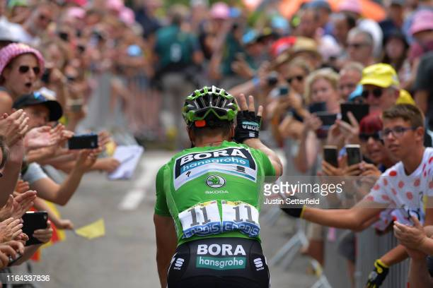 Start / Peter Sagan of Slovakia and Team Bora-Hansgrohe Green Sprint Jersey / Saint-Jean-de-Maurienne Village / Fans / Public / during the 106th Tour...