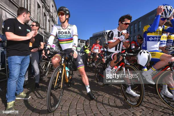 Start / Peter Sagan of Slovakia and Team BoraHansgrohe / Michael Matthews of Australia and Team Sunweb / during the 53rd Amstel Gold Race 2018 a...