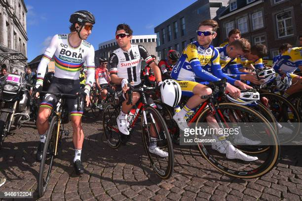 Start / Peter Sagan of Slowakia and Team BoraHansgrohe / Michael Matthews of Australia and Team Sunweb / during the 53rd Amstel Gold Race 2018 a...