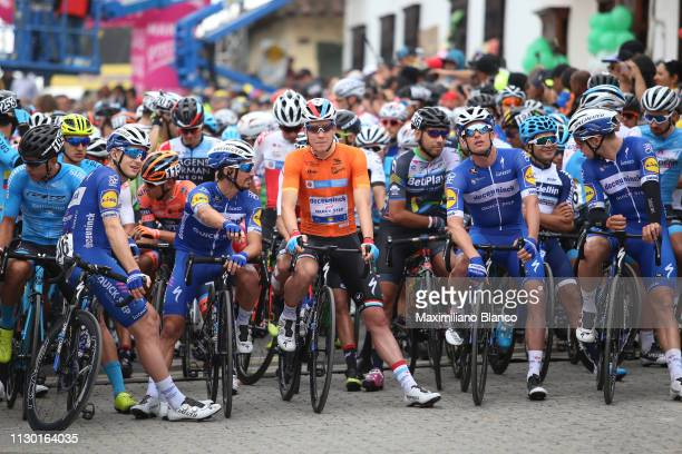Start / Petr Vakoc of Czech Republic and DeceuninckQuickstep Team / Álvaro Hodeg of Colombia and DeceuninckQuickstep Team / Julian Alaphilippe of...