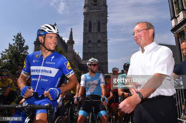 Start / Philippe Gilbert of Belgium and Deceuninck Quick Step / Walter Godefroot of Belgium ExProcyclist / Ghent City / during the 120th Belgian Road...