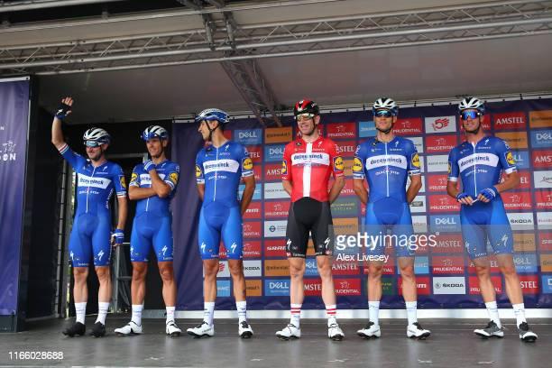 Start / Philippe Gilbert of Belgium and Team Deceuninck QuickStep / Iljo Keisse of Belgium and Team Deceuninck QuickStep / Davide Martinelli of Italy...