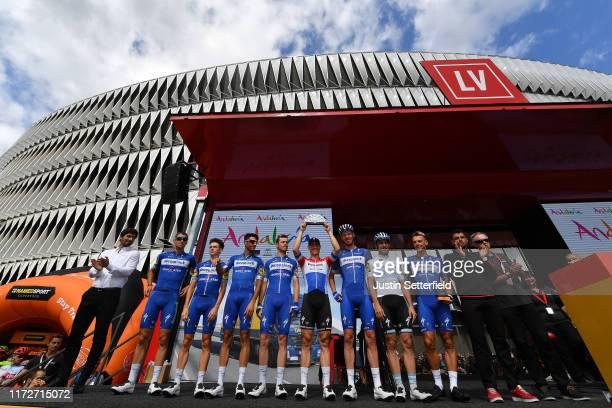 Start / Philippe Gilbert of Belgium and Team Deceuninck-QuickStep / Eros Capecchi of Italy and Team Deceuninck-QuickStep / Remi Cavagna of France and...