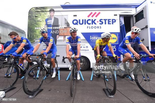 Start / Philippe Gilbert of Belgium and Team QuickStep Floors / Alvaro Jose Hodeg Chagui of Colombia and Team QuickStep Floors / Yves Lampaert of...