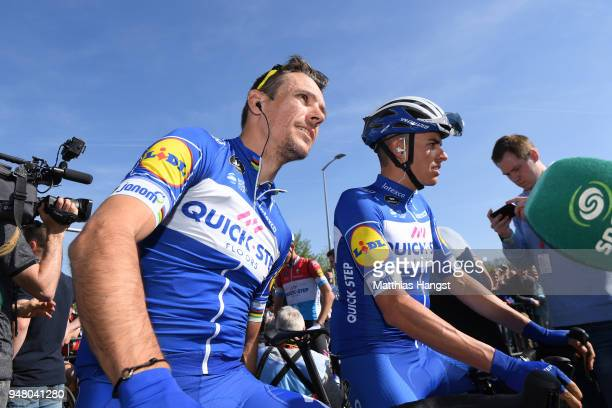 Start / Philippe Gilbert of Belgium and Team QuickStep Floors / Enric Mas of Spain and Team QuickStep Floors / during the 82nd La Fleche Wallonne...