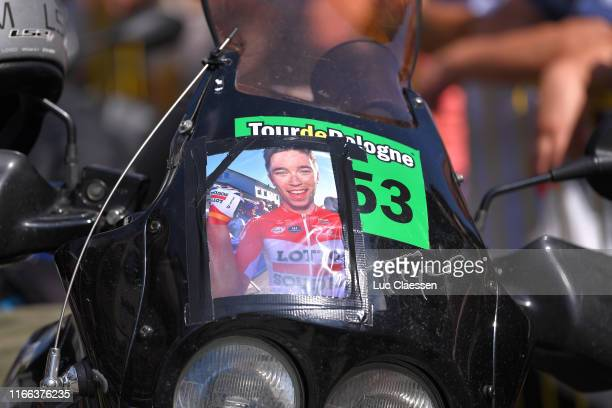 Start / Photographers and Moto Drivers paying tribute to Bjorg Lambrecht of Belgium with a photograph during the 76th Tour of Poland 2019 Stage Four...