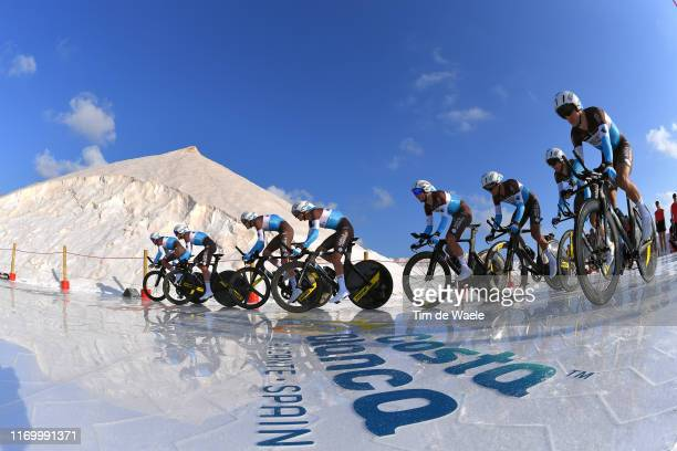 Start / Pierre Latour of France and Team AG2R La Mondiale / Francois Bidard of France and Team AG2R La Mondiale / Geoffrey Bouchard of France and...