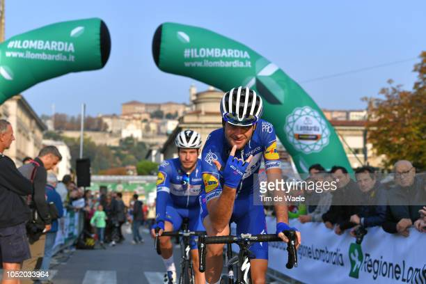 Start / Pieter Serry of Belgium and Team QuickStep Floors / Florian Senechal of France and Team QuickStep Floors / during the 112th Il Lombardia 2018...