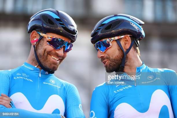 Start / Podium / Alejandro Valverde Belmonte of Spain and Movistar Team / Jose Joaquin Rojas Gil of Spain and Movistar Team / during the 53rd Amstel...