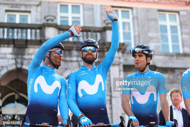 Start / Podium / Alejandro Valverde Belmonte of Spain and Movistar Team / Jose Joaquin Rojas Gil of Spain and Movistar Team / Mikel Landa Meana of...
