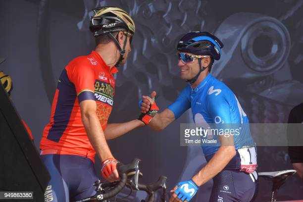 Start / Podium / Alejandro Valverde of Spain and Movistar Team / Vincenzo Nibali of Italy and Bahrain Merida Pro Team / during the104th...