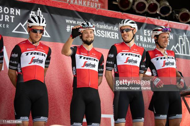 Start / Podium / Alex Frame of New Zealand and Team TrekSegafredo / Kiel Reijnen of The United States and Team TrekSegafredo / Michael Gogl of...