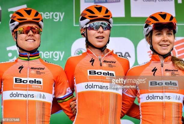 Start / Podium / Amalie Dideriksen of Denmark and Boels - Dolmans Cycling Team / Anna Plichta of Poland and Boels - Dolmans Cycling Team / Jip Van...