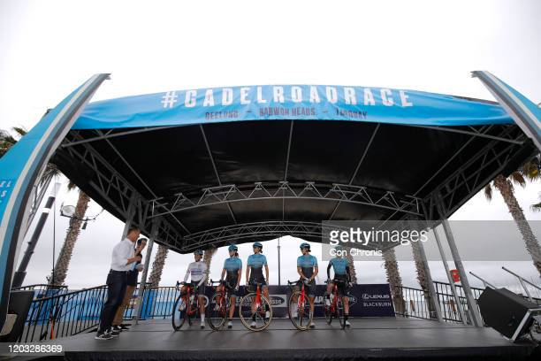 Start / Podium / Arlenis Sierra of Cuba and Astana Women's Team / Francesca Pattaro of Italy and Astana Women's Team / Katia Ragusa of Italy and...