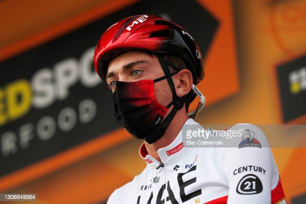 Start / Podium / Brandon Mcnulty of United States and UAE Team Emirates White best young jersey during the 79th Paris - Nice 2021, Stage 6 a 202,5km...