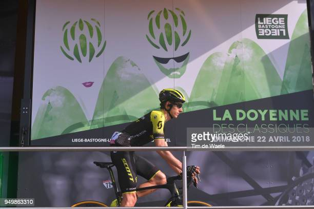 Start / Podium / Carlos Verona of Spain and Team MitcheltonScott / during the104th LiegeBastogneLiege 2018 a 2585km race from Liege to LiegeAns on...