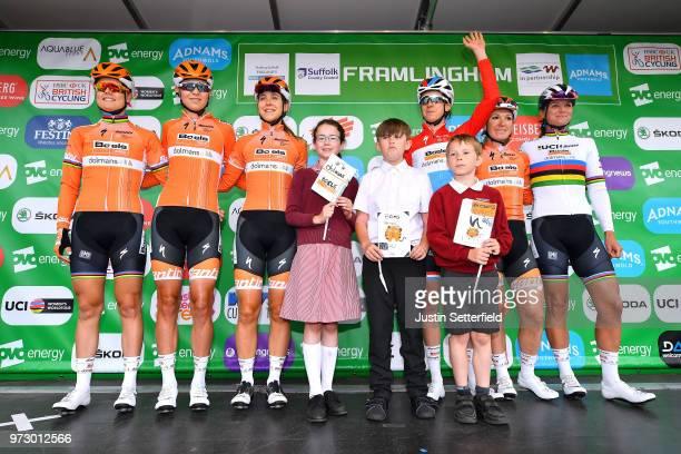 Start / Podium / Chantal Blaak of The Netherlands / Amalie Dideriksen of Denmark / Jip Van Den Bos of The Netherlands / Christine Majerus of...